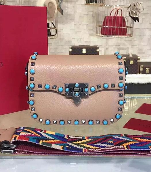 Valentino Rockstud Rolling Turquoise Bag Khaki Calfskin Leather Silver Nail