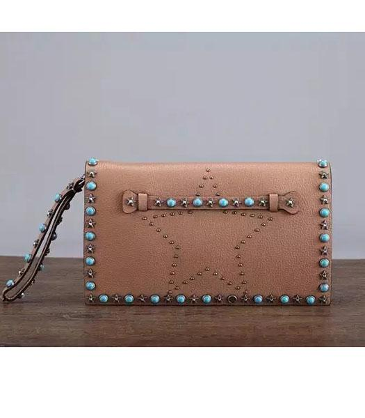 Valentino Rockstud Turquoise Brown Calfskin Leather Clutch