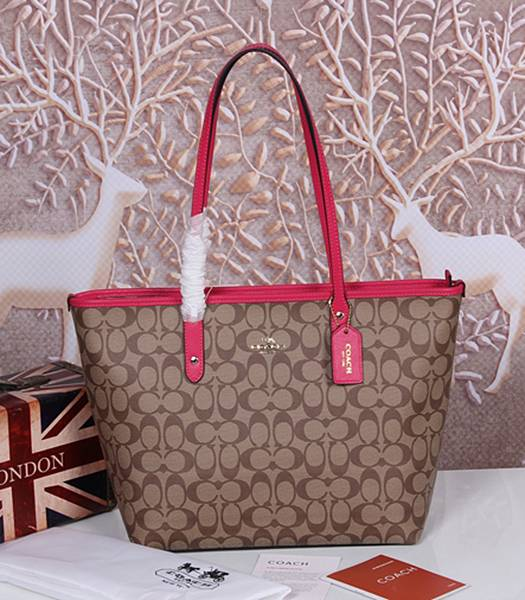 Coach 36876 Signature City Zip Tote Bag Apricot&Rose Red