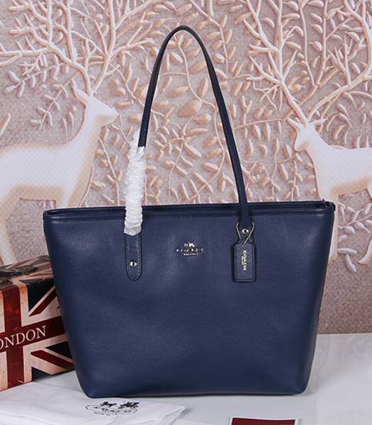 Coach Peanuts Snoopy 37273 Deep Blue Leather Tote Bag
