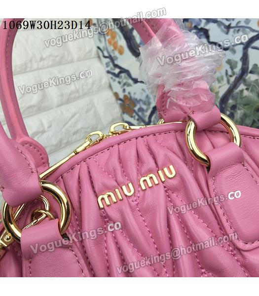 Miu Miu Matelasse Cherry Pink Leather Tote Bag-6