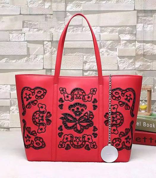 Versace Original Calfskin Leather Flower Printed Tote Bag Red
