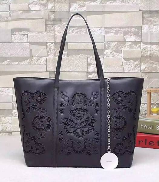 Versace Original Calfskin Leather Flower Printed Tote Bag Black