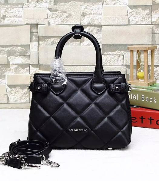Burberry Heritage Archive Original Calfskin Leather Small Tote Bag Black