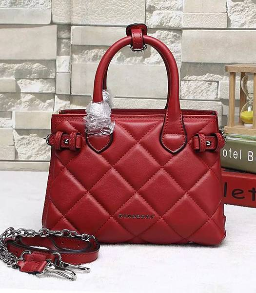 Burberry Heritage Archive Original Calfskin Leather Small Tote Bag Red