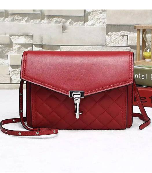 Burberry Original Calfskin Leather Quilted Shoulder Bag Red