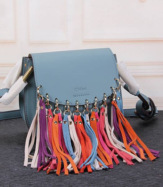 Chloe Colorful Fringed Blue Leather Small Shoulder Bag