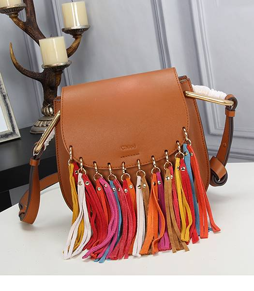 Chloe Colorful Fringed Light Coffee Leather Shoulder Bag