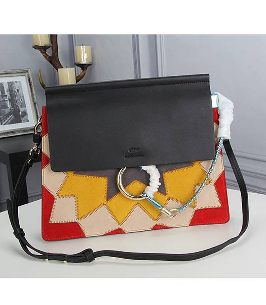 Chloe New Style Colorful Leather Shoulder Bag Black