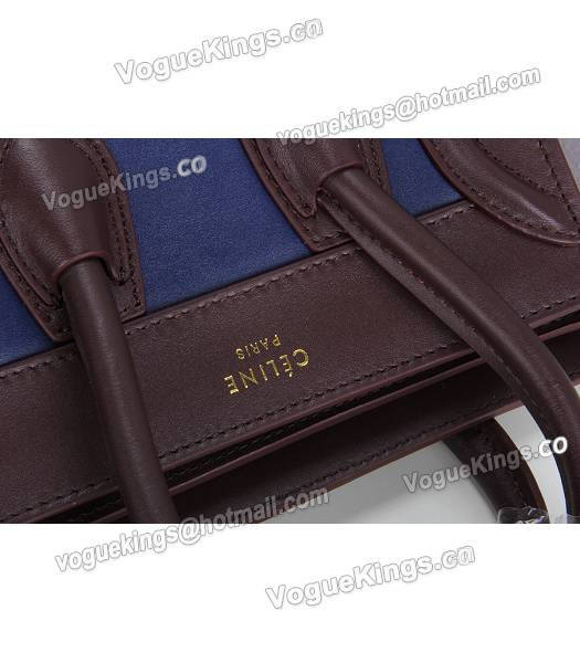 Celine Nano 20cm Small Tote Bag Sapphire Blue&Grey&Jujube Red Leather-5