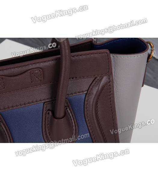 Celine Nano 20cm Small Tote Bag Sapphire Blue&Grey&Jujube Red Leather-6