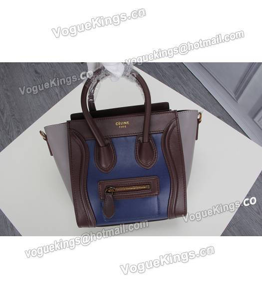 Celine Nano 20cm Small Tote Bag Sapphire Blue&Grey&Jujube Red Leather-7