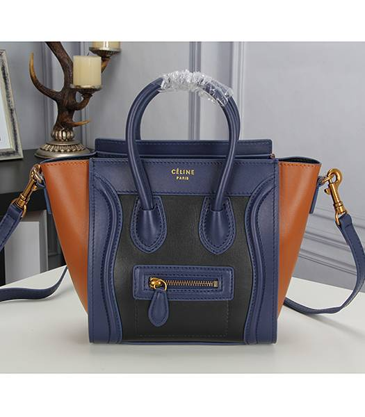 Celine Nano 20cm Small Tote Bag Sapphire Blue&Black&Earth Yellow Leather
