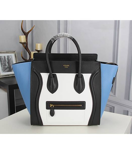 Celine Mini 30cm Classic Tote Bag Blue&White&Black Leather