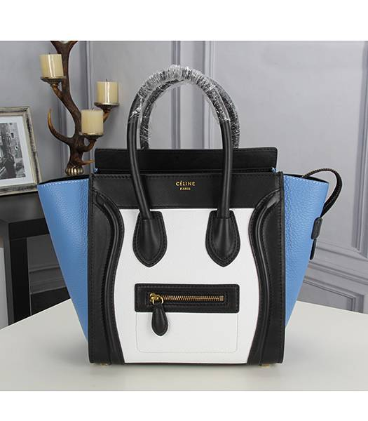 Celine Mini 26cm Small Tote Bag Blue&White&Black Leather