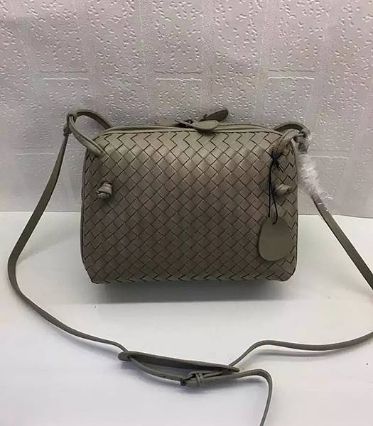 Bottega Veneta Khaki Leather Small Woven Bag