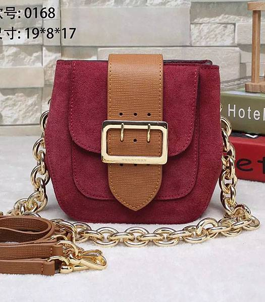Burberry The Belt Calfskin Suede Leather House Shoulder Bag Wine Red
