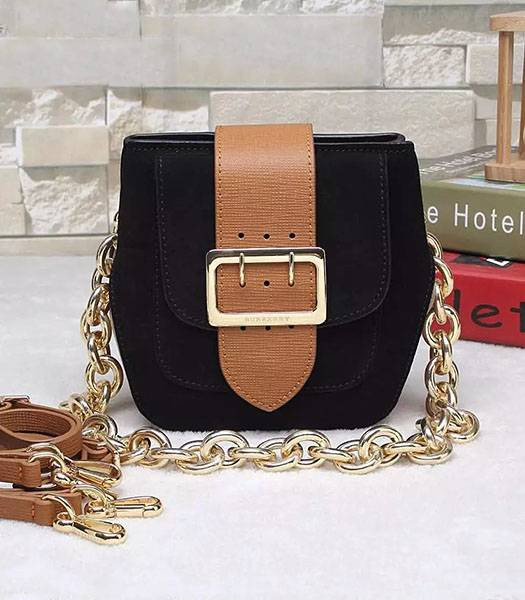 Burberry The Belt Calfskin Suede Leather House Shoulder Bag Black