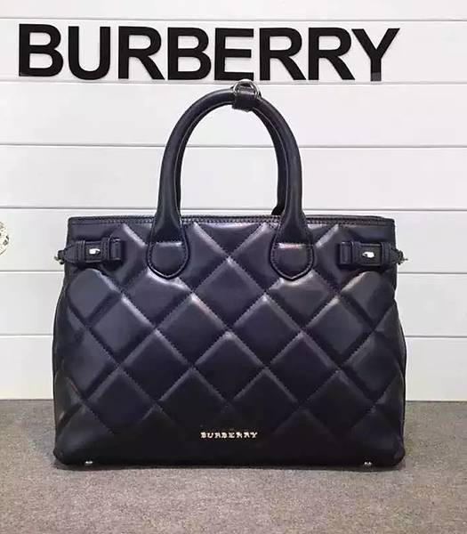 Burberry Heritage Archive Original Calfskin Leather Tote Bag Black
