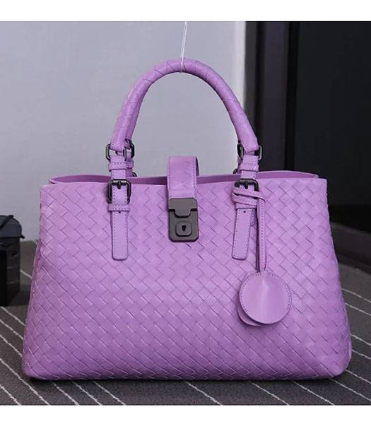 Bottega Veneta Imported Sheepskin Leather Woven Tote Bag Pink
