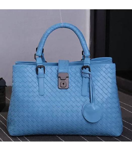 Bottega Veneta Imported Sheepskin Leather Woven Tote Bag Blue