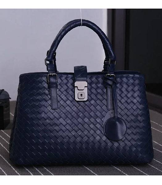 Bottega Veneta Imported Sheepskin Leather Woven Tote Bag Dark Blue