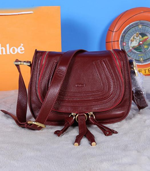 Chloe Classic Shoulder Bag 28cm Wine Red Leather