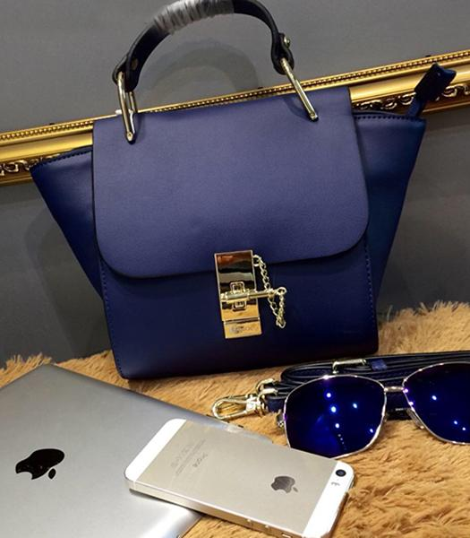 Chloe Sapphire Blue Leather Small Tote Bag Golden Hardware