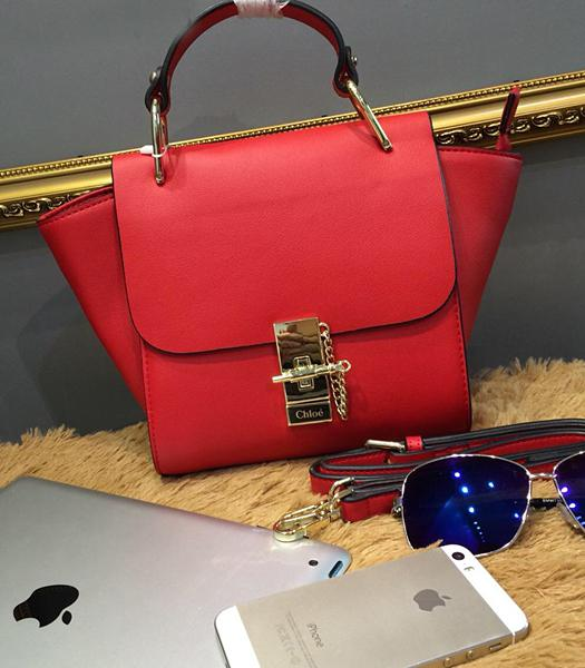 Chloe Red Leather Small Tote Bag Golden Hardware
