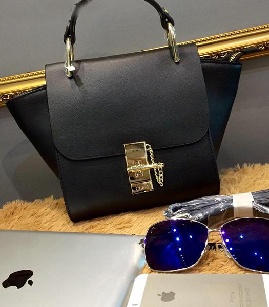 Chloe Black Leather Small Tote Bag Golden Hardware