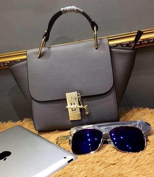 Chloe Grey Leather Small Tote Bag Golden Hardware