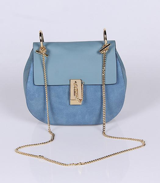 Chloe Suede Leather Crossbody Bag Golden Chain Light Blue