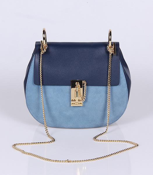 Chloe Suede Leather Crossbody Bag Golden Chain Light Blue&Sapphire Blue
