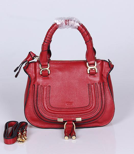 Chloe Hot-sale Jujube Red Leather Small Tote Bag