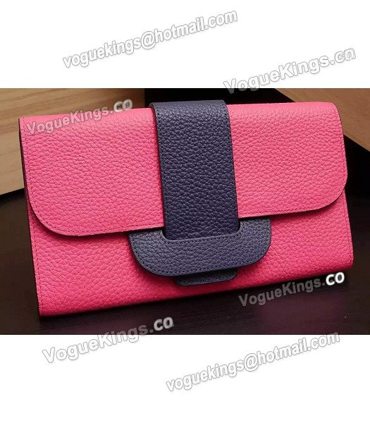Hermes Latest Design Leather Fashion Clutch Rose Red_1