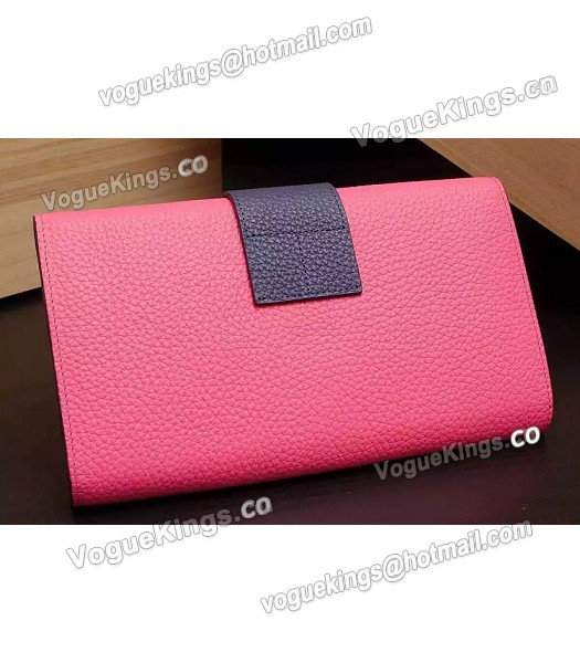 Hermes Latest Design Leather Fashion Clutch Rose Red_2