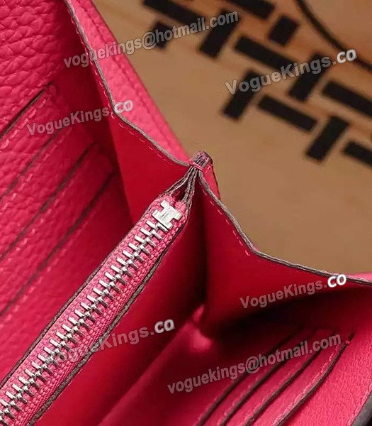 Hermes Latest Design Leather Fashion Clutch Rose Red_7