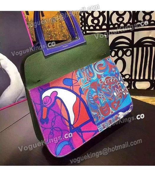 Hermes Latest Halzan Flower Printed Original Leather Bag Blue-2