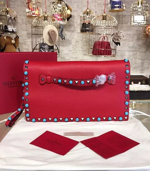Valentino Rockstud Turquoise Red Calfskin Leather Clutch