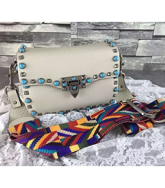 Valentino Rockstud Turquoise White Calfskin Leather Small Shoulder Bag