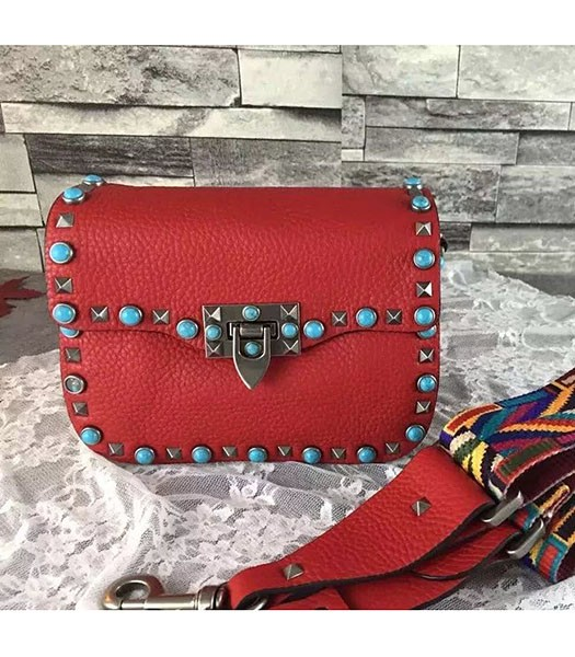 Valentino Rockstud Turquoise Red Calfskin Leather Small Shoulder Bag