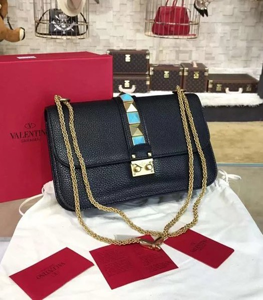 Valentino BOX Turquoise Shoulder Bag Black Calfskin Leather Golden Chain