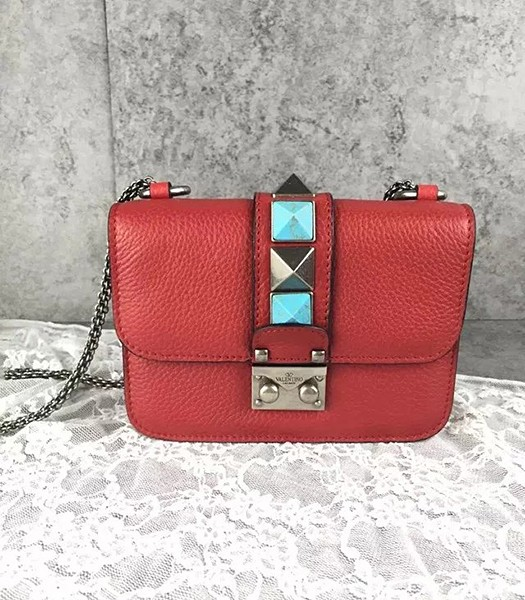 Valentino BOX 17cm Turquoise Red Calfskin Leather Shoulder Bag Silver Chain