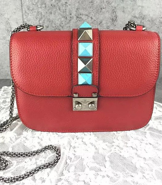 Valentino Noir Mini Turquoise Shoulder Bag Red Calfskin Leather Silver Chain