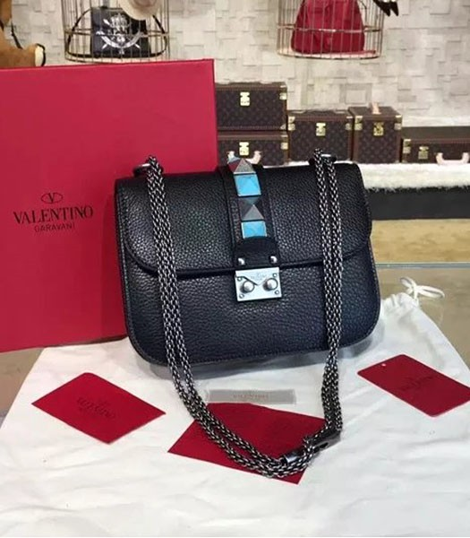 Valentino Noir Mini Turquoise Shoulder Bag Black Calfskin Leather Silver Chain