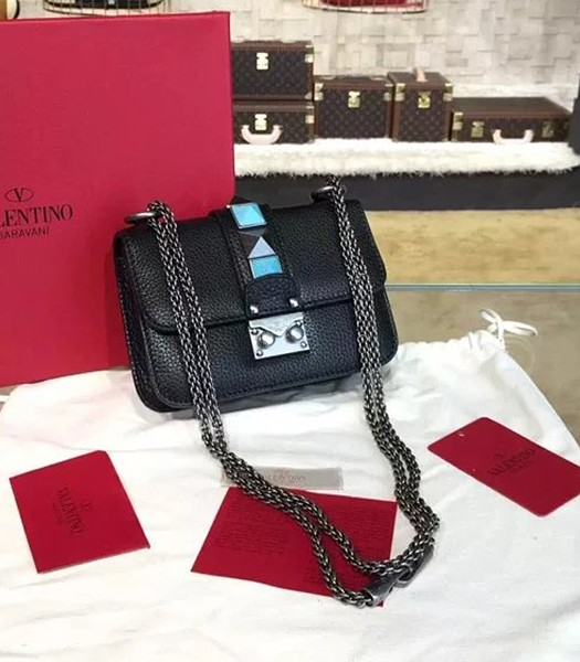 Valentino BOX 17cm Turquoise Black Calfskin Leather Shoulder Bag Silver Chain