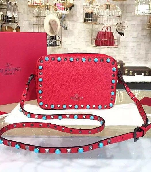 Valentino Rockstud Turquoise Crossbody Bag Red Calfskin Leather Silver Nail