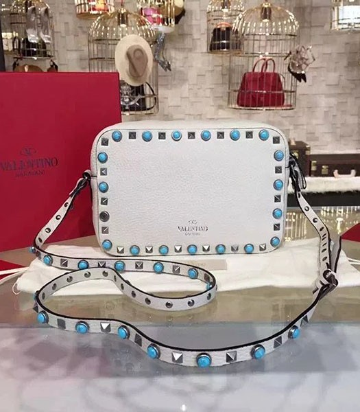 Valentino Rockstud Turquoise Crossbody Bag White Calfskin Leather Silver Nail
