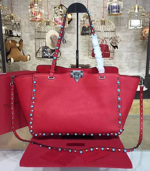 Valentino Red Leather Rockstud Turquoise Tote Bag Silver Nail
