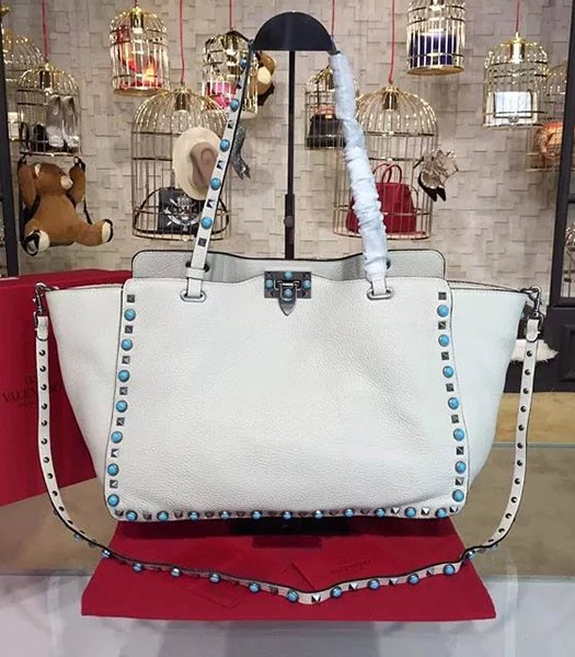Valentino White Leather Rockstud Turquoise Tote Bag Silver Nail